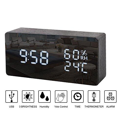 Wecker Uhr in Holzoptik LED digital - Mordern Digitale Analoge Wecker von Uhrzeit Temperatur Datum -mit 3 Laut Alarm Clock mit USB...