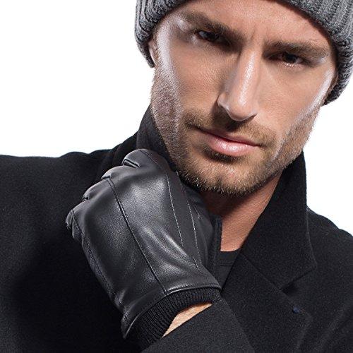 Matsu Herren-Handschuhe für Winter, warm, geeignet für Touchscreen / Fahren / Fahrrad, Leder mit Manschetten, langes Fleece-/Kaschmir-Innenfutter, M2002 Gr. Small, Black-Non TouchScreen (Hut Leder Echt Fahren)