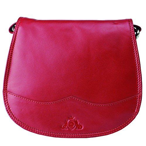 Jenes & Jandura Damen Umhängetasche Leder Handtasche , kleine Umhängetasche Schultertasche Abendtasche Mini Special Design Hochwertige Handgefertigt Rot