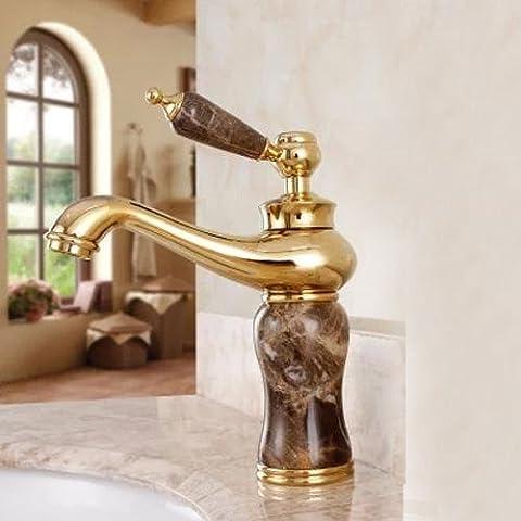 YanCui@ Hogar y cocina Baño Grifos de lavabo Grifo de lavabo de mármol antiguo oro cobre Europea del agua ,