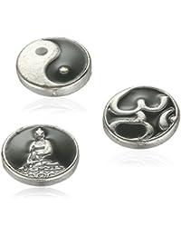 Pilgrim Jewelry Damen-Charm Messing Druckknopf aus der Serie Snap versilbert,grau 1 cm 431320012