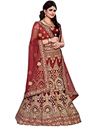 Swara Fashion Women's Net With Blouse Piece Lehenga Choli(SFRL-1032-Maroon_Maroon)