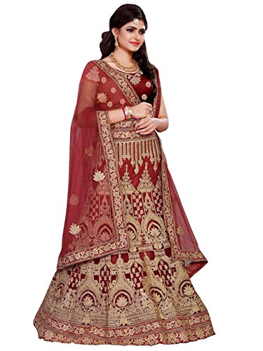 Kreckon Women's Net With Blouse Piece Lehenga Choli(KRRL-1032-Maroon_Maroon_Free Size)