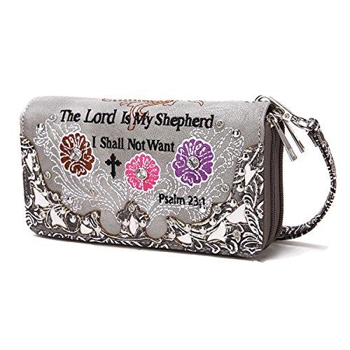 Borsette Donna Cowgirl Occidentale Versetto Bibbia Con Strisce Di Fiori Zip Around Portafoglio Turchese NERO