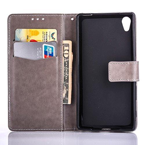 Hülle für Sony Xperia XA Ultra, Tasche für Sony Xperia XA Ultra, Case Cover für Sony Xperia XA Ultra, ISAKEN Farbig Blank Muster Folio PU Leder Flip Cover Brieftasche Geldbörse Wallet Case Ledertasche Blank Einfarbig Grau