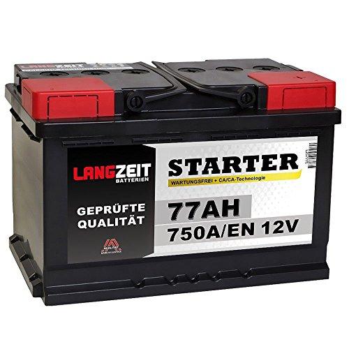 LANGZEIT Autobatterie 12V 77AH 750A/EN statt 70Ah 72Ah 74Ah 75Ah Starter Batterie