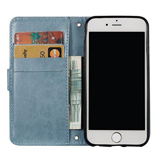 iPhone 6Plus Hülle,Fodlon® Mode Totenkopf Geprägt mit Karte Schlitze Telefon Schutzhülle -Braun grau