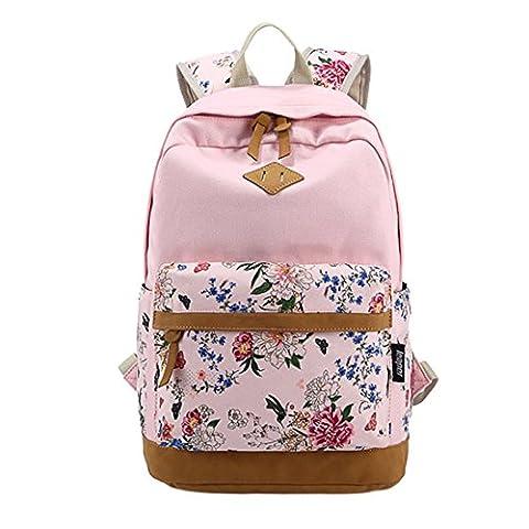 iTECHOR Mode Druck Segeltuch -Rucksack Blumenmuster Kleine Laptop-Umhängetasche - Pink (Oilily Kindertasche)