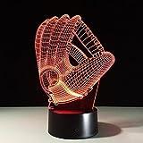 GEARS PANDA 3D LED Illusionslampe, 7 Farben ändern Fernbedienung Visuelles Licht, Optische Baseball Handschuhe Dimensional Nachtlicht, Dekoration Atmosphäre Tischleuchten, Kinder Weihnachtsgeschenke