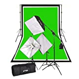 #10: CowboyStudio Complete Photography and Video Stuido 2000 Watt Softbox Continuous Lighting Boom Kit with 6ft x9ft Black White Chromakey Green 3 Muslin Backgrounds and Backdrop Support Stands