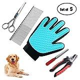 homeasy Haustier Handschuhe Set Professionelle Pflege Set für Hunde und Katz Fellpflege Schere Stahlkamm Nagel-Clipper und Nagelfeile