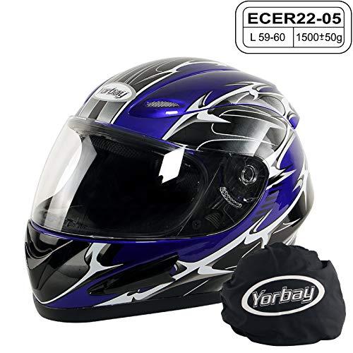 Yorbay Motorradhelm Integralhelm Sturzhelm Helm mit verschienden Typen & in unterschiedlichen Größen (Blau, L)