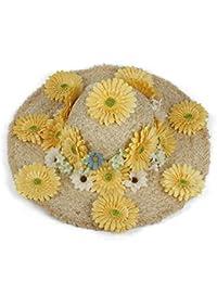 Gr 100% Handgefertigte Raffia Frauen Strand Sonnenhut für Lady Dome Blume Sunbonnet (Color : Natural, Größe : 57-58CM)