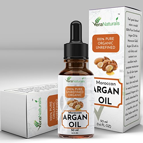 Organic Cold Pressed Moroccan Argan Oil - 50ml by hisMane VeraNaturals for Skin and Hair, Pure and Unrefined - Natural Moisturizer