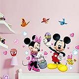 Smart Art Klassisch Mickey Mouse Wandtattoos Niedlich Disney Wandsticker Entfernbar Schmetterling Wandaufkleber PVC Wanddekorationen zum Kindergarten Baby Zimmer
