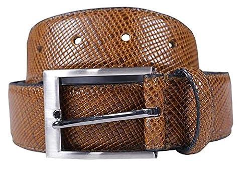 Chocolate Pickle® Nouveau Hommes 35mm Largeur Reptile Peau Réal Cuir Épingle Ceintures Mustard - Single Keeper Pin Buckle Belts S