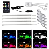 #1: 4pcs 12 inch Multi-Color 8 Color Music LED Car Interior Underdashboard Lighting Kit Sound Activated IR Remote Control Atmosphere Lamp with Car Charger