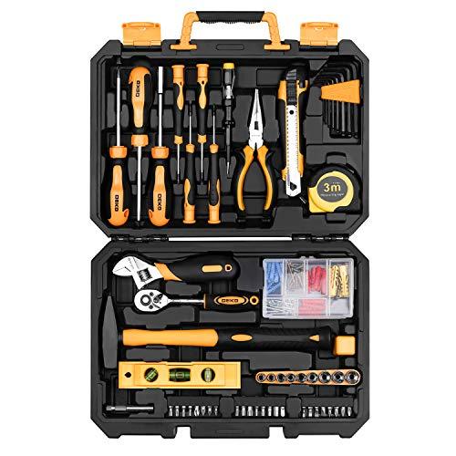 DEKO 138-teiliger WerkzeugSet,Universal DIY Handwerkzeuge Haushalts-Werkzeugkoffer mit Aufbewahrungskoffer aus Kunststoff für Damen oder Herren