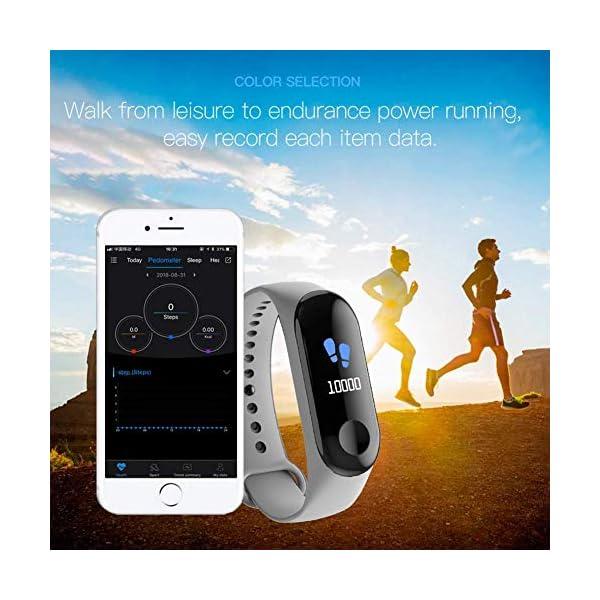 WISHDILO Pulsera de seguimiento de actividad física, monitor de ritmo cardíaco, pulsera inteligente para deportes al aire libre, podómetro impermeable con monitor de sueño para niños, damas y hombres, pulsera deportiva para contador de calorías 5