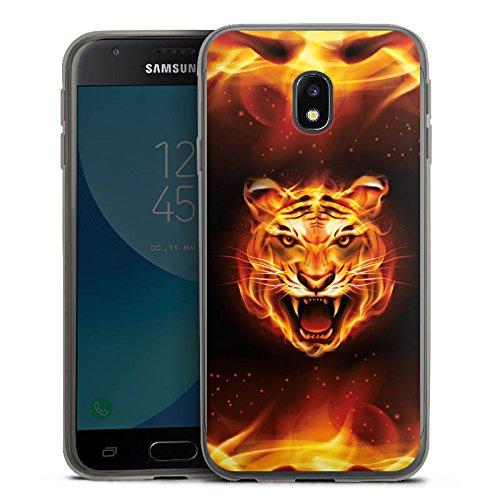 DeinDesign Samsung Galaxy J3 Duos 2017 Slim Case transparent anthrazit Silikon Hülle Schutzhülle Bengalischer Tiger Raubkatze Feuer