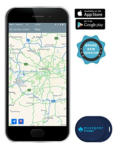 musegear® App Schlüsselfinder - mini - blau - Schlüssel, Keys, Handy, Fernbedienung wieder-finden - Smartphone Bluetooth GPS Kopplung