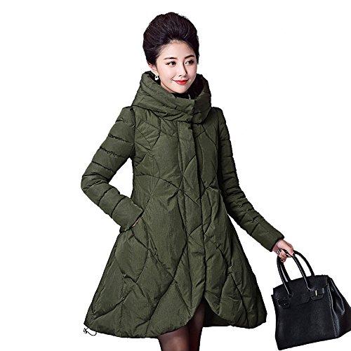 Ms. Lungo Tratto Tipo Mantello Cappotto Bavero Del Cappotto Piles Multicolore Multi-size Green