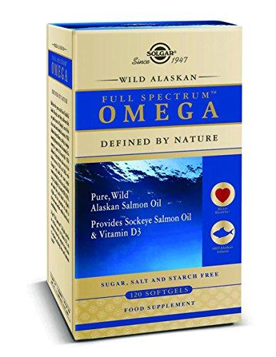 Solgar Full SpectrumTM Omega. 100% Aceite puro de salmón salvaje de Alaska que proporciona EPA, DHA y otros omegas 3, 5, 7 y 9. También contiene astaxantina y vitamina D3 - 120 Cápsulas