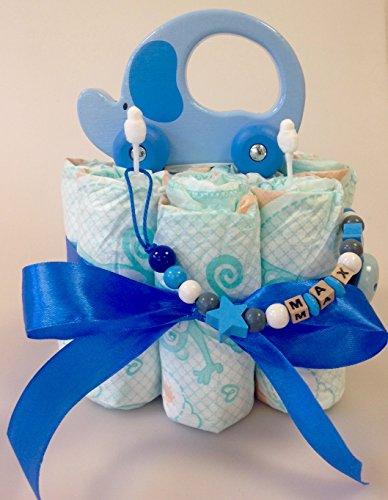 Elfenstall Greifling Jungen Windeltorte / Pamperstorte mit Schnullerkette und einem Greifling Auto mit Motiv Elefant als tolles Geschenk zur Geburt oder Taufe auf Wunsch mit Name des Babys Greifling blau Junge