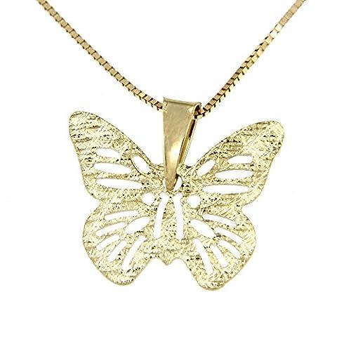 Lucchetta Damen-Halskette Schmetterling 14 Karat 585 Gelbgold Anhänger 45cm