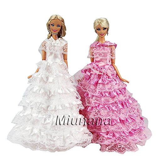 Miunana 2 pcs abiti da sposa elegante spalla unica per bambola barbie dolls (bianco violetto)