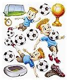 Stickerkoenig Wandtattoo 3D Sticker Wandsticker - Fussballer Fußbälle Tor mit Stadion #561 Set 2 Kinderzimmer Deko auch für Wände, Fenster, Schränke, Türen etc auf Bogen
