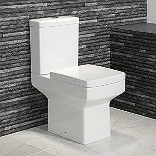 Modern Square Ceramic WC Toilet Close Coupled White Bathroom Cistern Pan + Seat