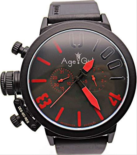 DMSGBZL Uhren Neue Herren Sport Black Rubber Classic U Runde automatische mechanische Handuhr 50mm s Uhren schwarz rot