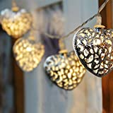 GLADLE Romantic 10LED Silver Metal Heart Fairy String Light Decoration Bild 1