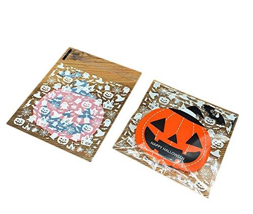 Milopon 100x Cellophan Taschen Cellophantüte Gebäcktüten Selbstklebende mit Halloween Muster OPP Kunststoff Tasche für Bäckerei, Süßigkeit, Seife, Plätzchen