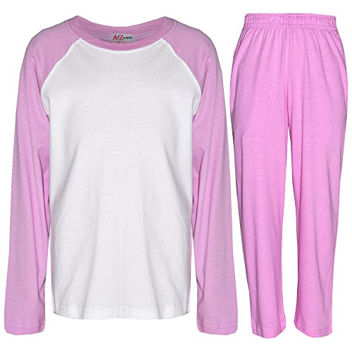 Kinder Mädchen Jungen Pyjamas Einfach Farbe - PJS Einfach Lilac 9-10 (10 Pjs)