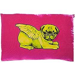 Pugs puede volar verde Biddy CARLINO de cojín rectangular, color rosa