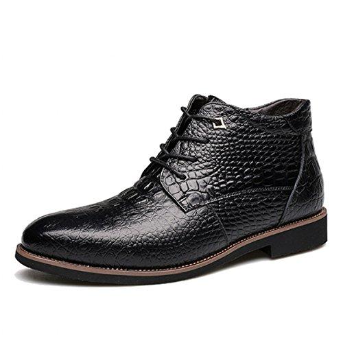 Stivaletti da uomo in pelle, gracosy scarpe stringate uomo oxford scarpe cap-toe crocodile pattern stivali martin british style pelle inverno casual classico con velluto nero 39,5 eu