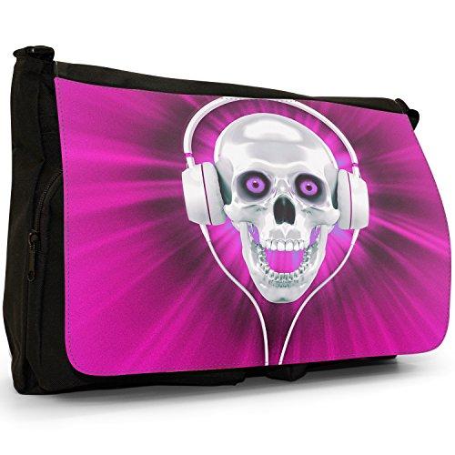 Teschio con cuffie–Borsa Tracolla Tela Nera Grande Scuola/Borsa Per Laptop Pink Skull With Headphones El Más Barato m5S84P3