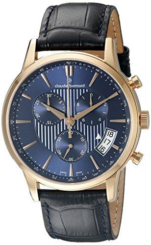 Claude Bernard Men's 01002 37R BUIR Classic Chronograph Analog Display Swiss Quartz Black Watch