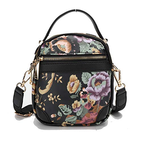 Wind Took Damen Kleine Umhängetasche Schulter Quadratische Sling Tasche Mini Bag Handtasche Schultertasche Mode-gedruckt Wasserdichte PVC, 17.5x14.5x8 cm, Schwarz -