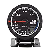 Qiilu Turbo Boost Gauge con Supporto + Sensore per Auto 0-200 Kpa
