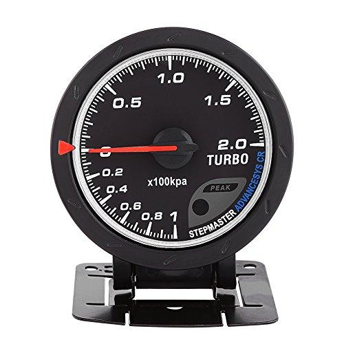 Jauge de Suralimentation, Keenso 60mm LED Indicateur Turbo Boost Presse À Vide Compteur Noir Universel Pour Auto Racing Car 0-200 Kpa