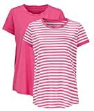 Ladies Cotton T-Shirts Tees 2 Pack - one Striped one Plain Women's UK Plus Size 18 EU 44 Pink