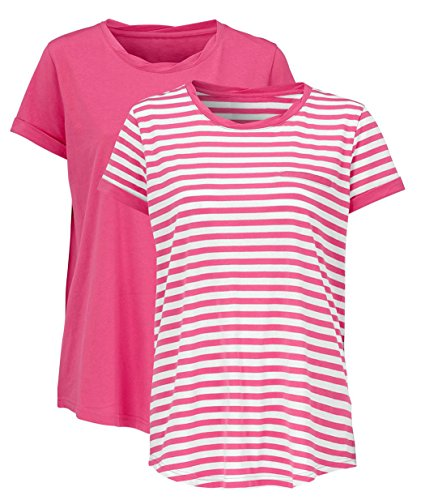 Ladies Cotton T-Shirts Tees 2 PACK - one striped one plain Women's UK Sizes 8 up to Plus Size 38