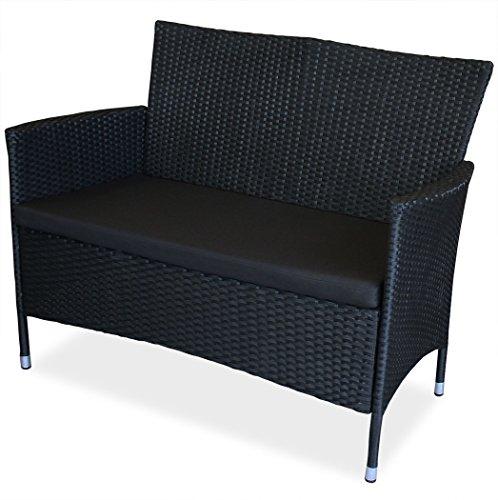 KMH®, 2-Sitzer Gartenbank aus schwarzem Polyrattan (#106068)