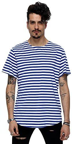 pizoff-unisex-hip-hop-urban-basic-langes-t-shirts-mit-bretonischen-streifen-mit-rundem-saum-y1724-bl