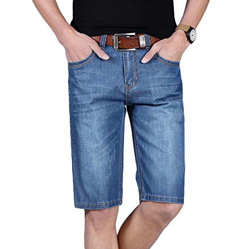 Herren Denim Jeans Shorts Sommer kurze Hose Hellblau808