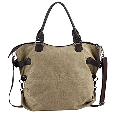 LABABE Canvas Handbag Shoulder Bag Handbags Purse for Women - khaki