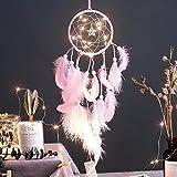 Traumfänger Indianer Handgefertigt Gute Träume,Kleine Lichterkette Rosa, Blau Traumfänger mit Federn für Wandbehang, Hochzeit Dekoration, Schlafzimmer Ornament 54cm